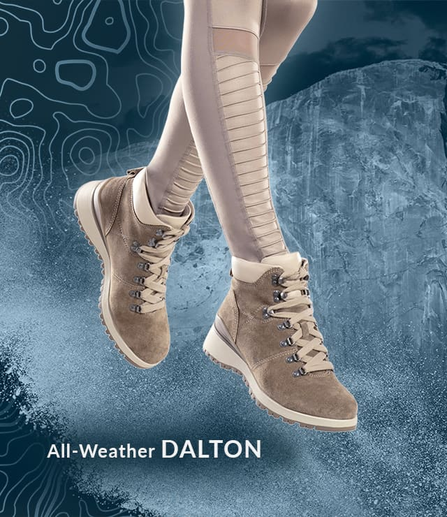 featured style: All-Weather Dalton boot, shown in light grey-cream on jumping model