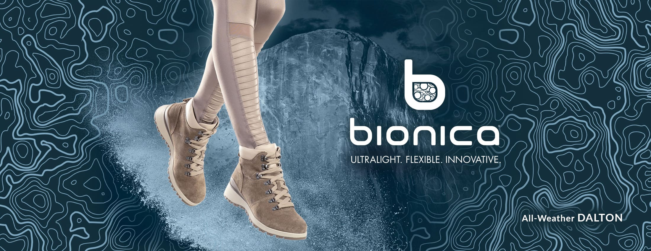 Bionica: Ultralight, Flexible, Innovative. Featured style: All-Weather Dalton boot, shown in light grey-cream on jumping model