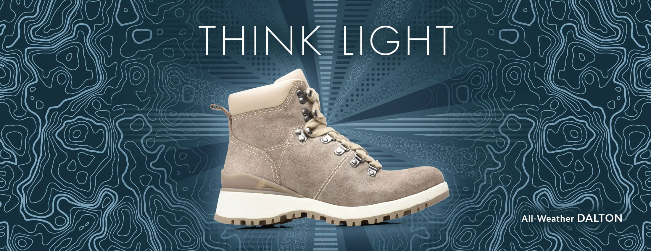Think Light. Featured style: All-Weather Dalton boot, shown in light grey-cream