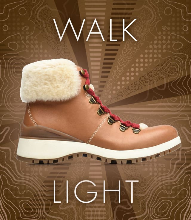 Walk Light. Diablo boot, shown in luggage brown with red laces