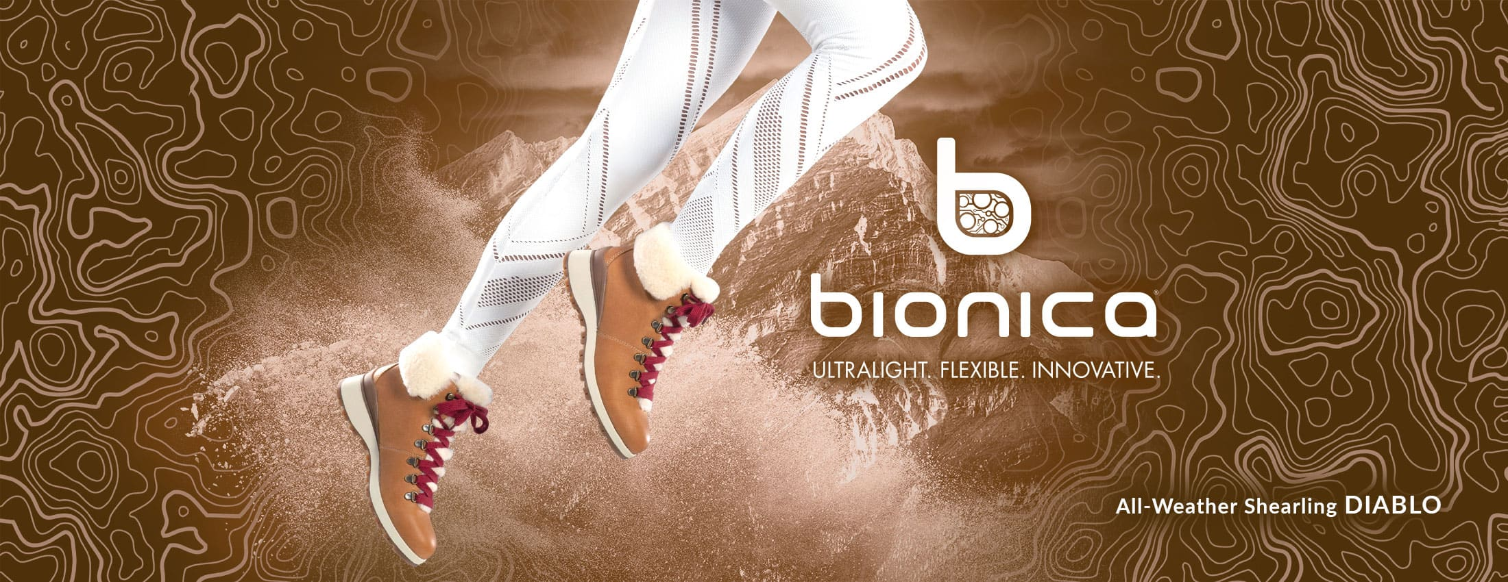 Bionica: Ultralight, Flexible, Innovative. Featured style: All-Weather Shearling Diablo boot, shown in luggage brown with red laces on jumping model