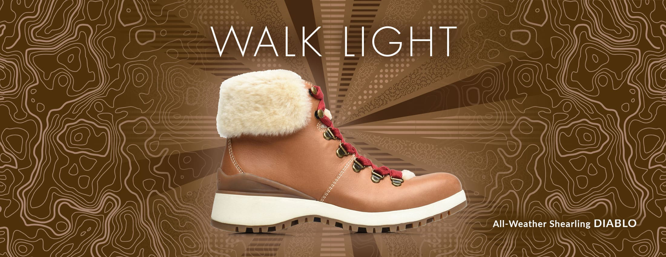 Walk Light. Featured style: All-Weather Shearling Diablo boot, shown in luggage brown with red laces