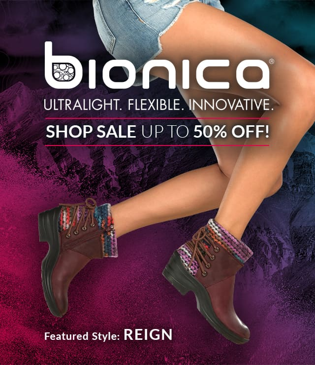 Bionica: Ultralight. Flexible. Innovative. Shop Sale, Up to 50% off! Featured Style: Reign boot, shown in egglant purple on jumping model wearing jean shorts