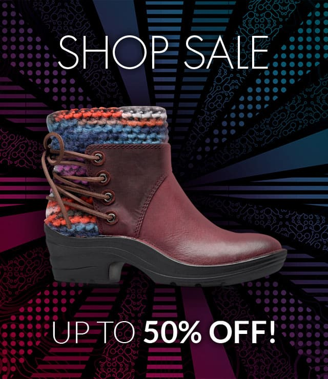 Shop Sale, Up to 50% off! Featured Style: Reign boot, shown in egglant purple.