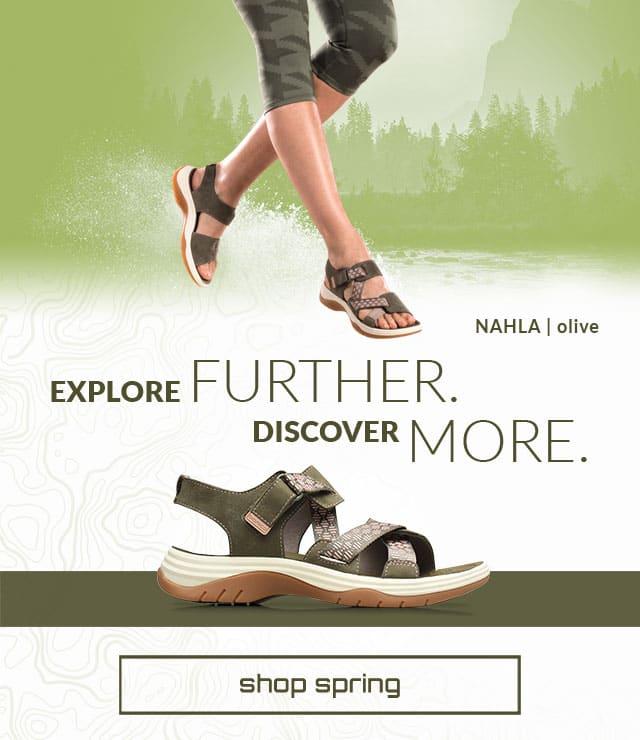 Explore Further. Discover more. Shop spring. Nahla Sandal in olive. Shop women's new arrivals.