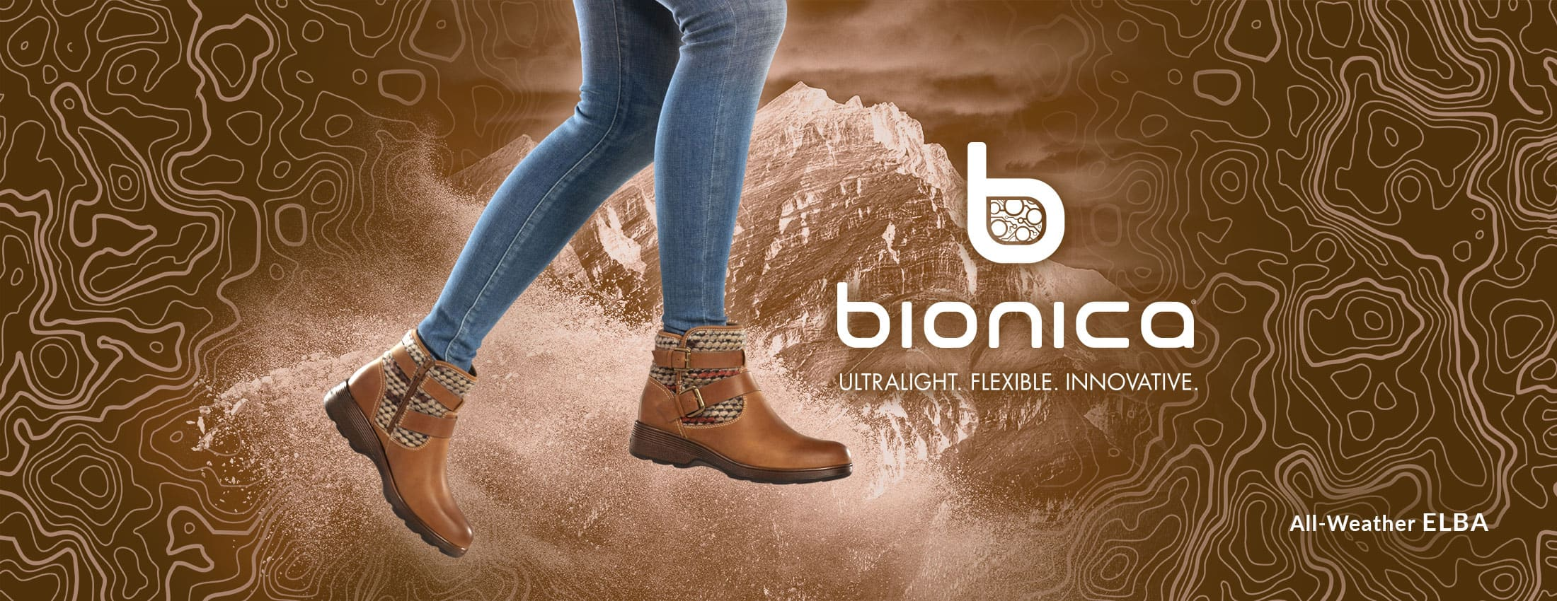 Bionica: Ultralight, Flexible, Innovative. Featured style: All-Weather Elba boot, shown in Almond Tan.  Shop Elba now