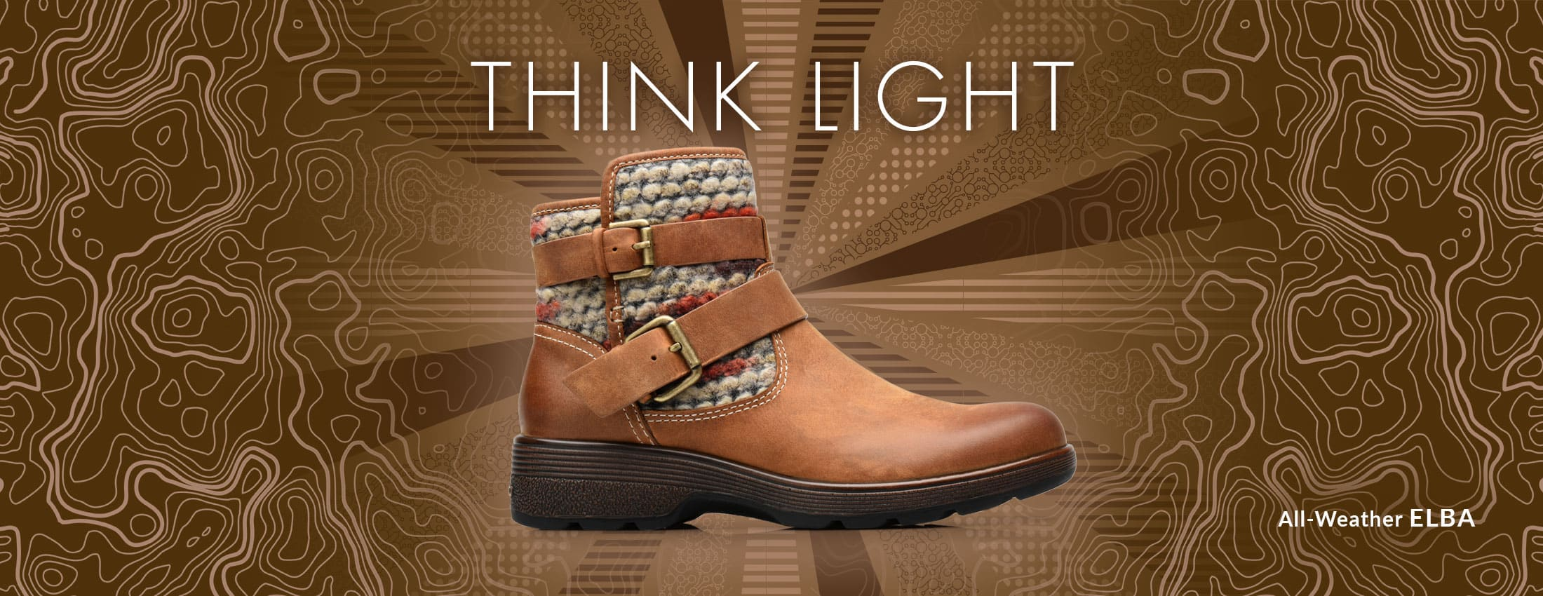 Think Light. Featured style: All-Weather Elba boot, shown in Almond Tan.  Shop Elba now