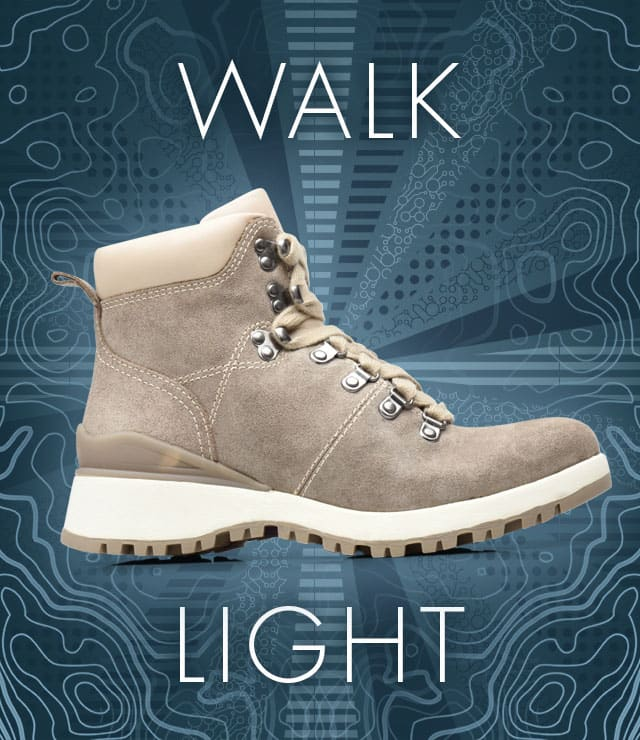 Walk Light. Dalton boot, shown in light grey-cream.  Shop Dalton now