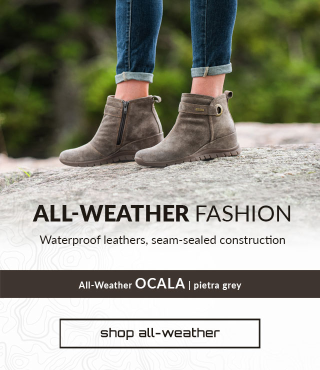 All-Weather Fashion. Waterproof Leathers, Seam Sealed Construction. Shop All-Weather. Ocala Boot in Pietra Grey.