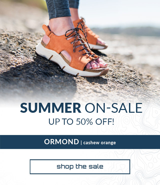 Summer on sale. Up to 50% Off. Shop the sale. Ormond sandal in cashew orange.