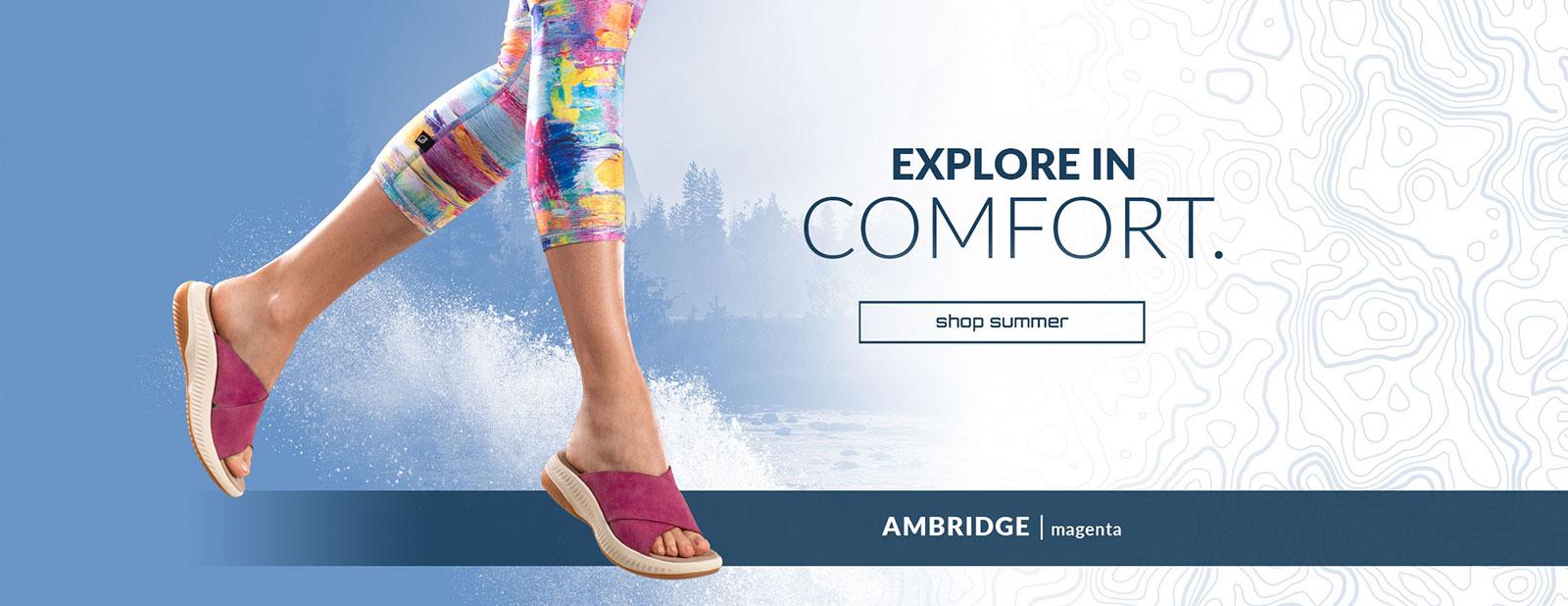 Explore in Comfort. Shop summer. Ambridge Sandal in Magenta. Shop women's new arrivals.