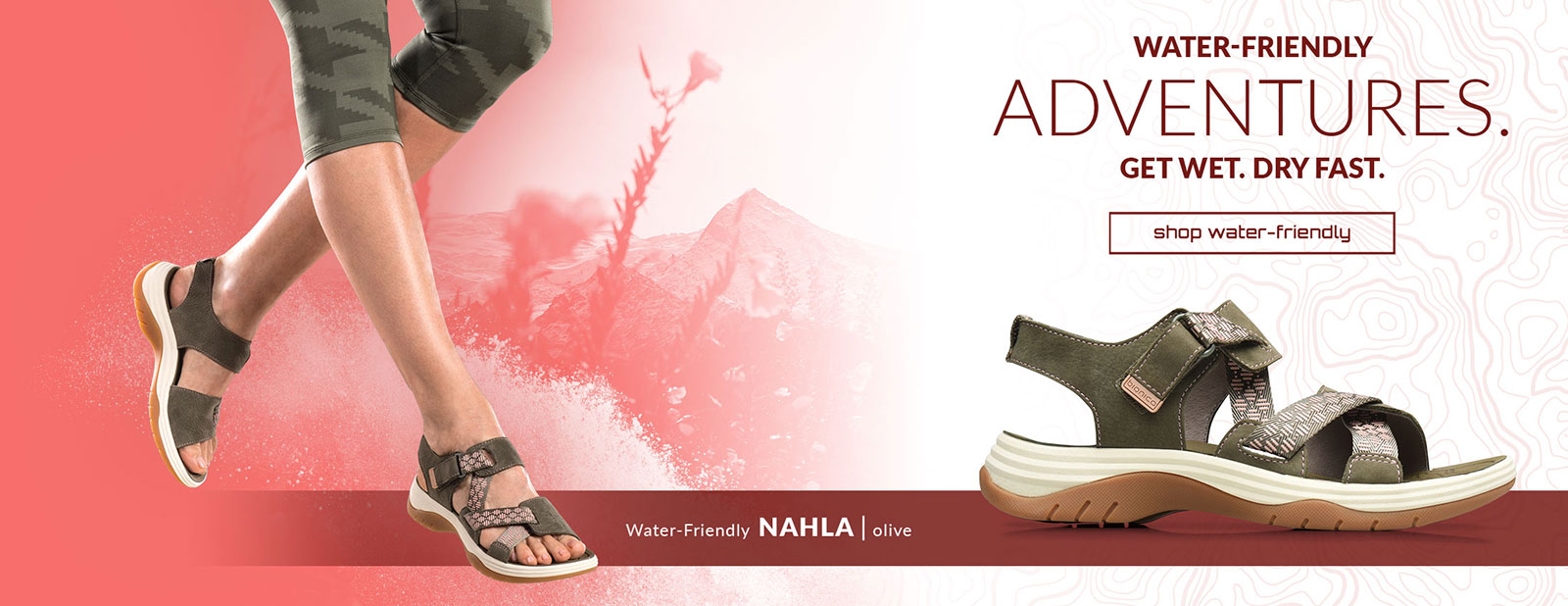 Water Friendly Adventures. Get Dry Fast. Shop Water-Friendly. Water-friendly Nahla sandal in olive. Shop Water-Friendly Sandals.