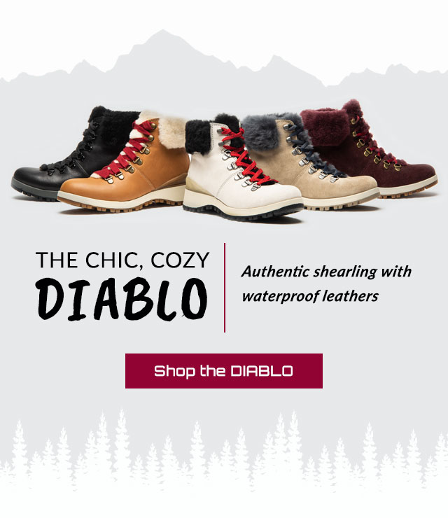 The chic, cozy DIABLO. Authentic shearling with waterproof leathers. Featured in black, tan, white, grey and red. Shop the DIABLO