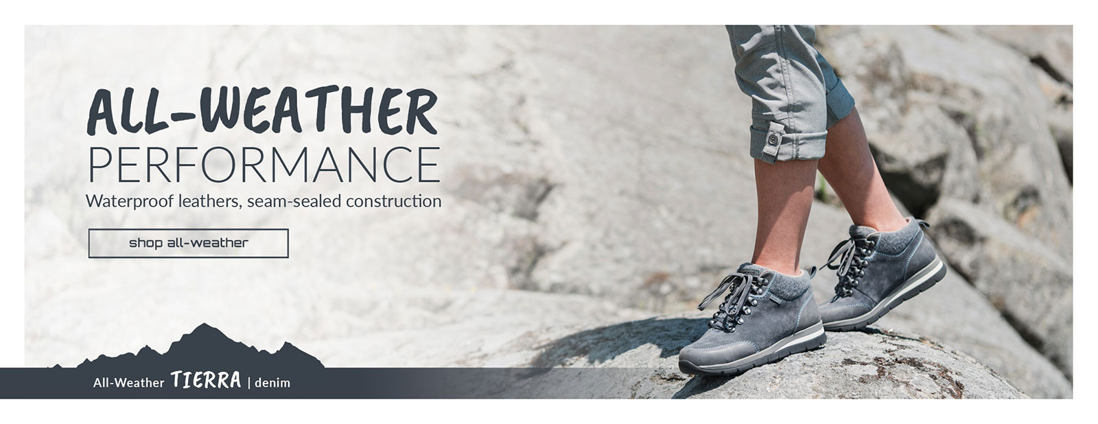 All-Weather Performance. Waterproof Leathers, Seam Sealed Construction. Tierra Boot in Denim. Shop All-Weather