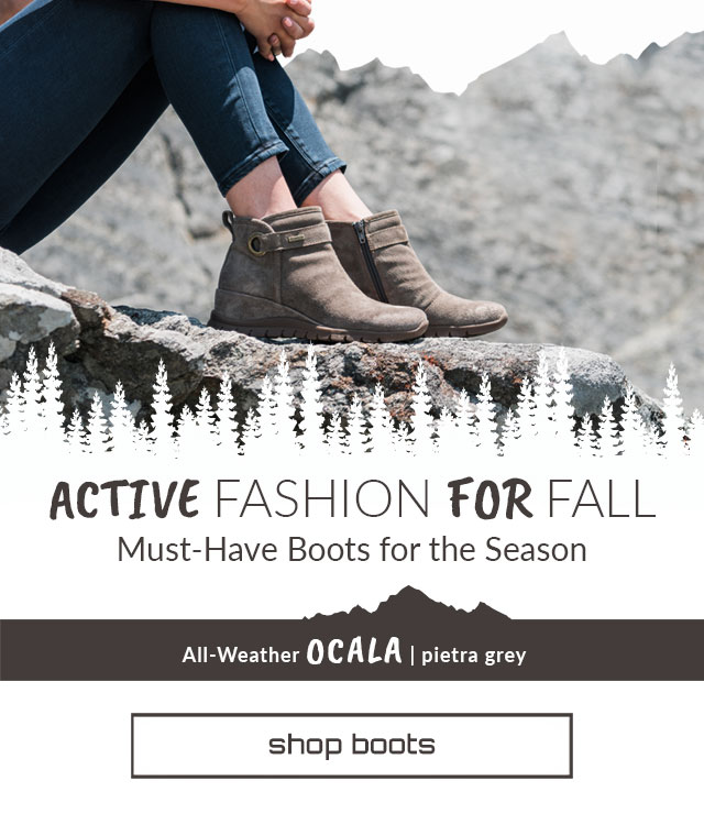 Active Fashion for Fall. Must have boots for the season. Ocala Boot in Pietra Grey. Shop boots