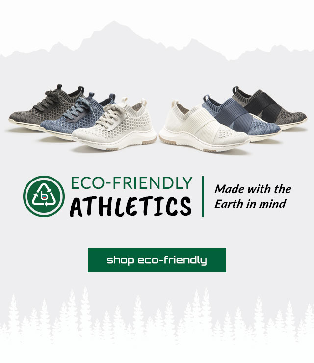 Eco-Friendly Athletics. Discover More. Made with the earth in mind. Featured styles: Eco-Friendly Onie in white, blue and black. Eco-Friendly Ocean in white, blue and black. Shop Eco-Friendly.