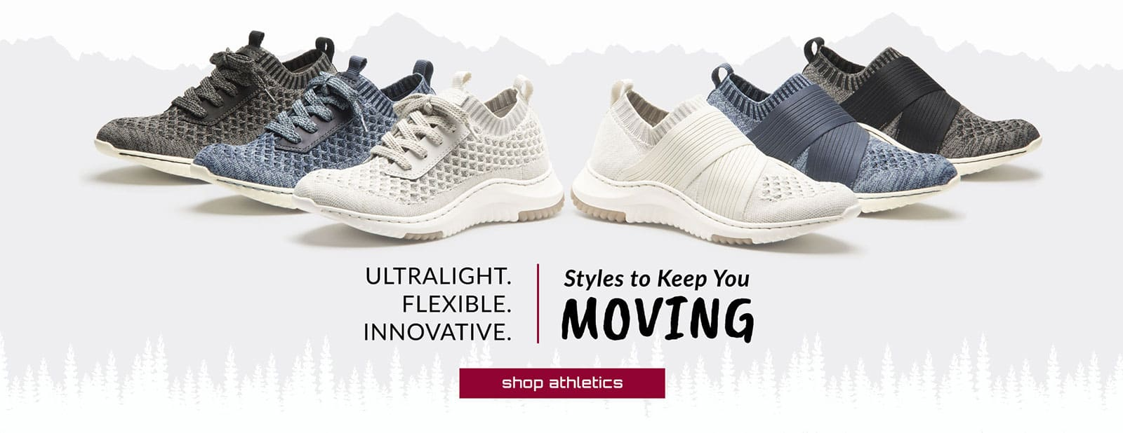 Ultralight. Flexible. Innovative. Styles to Keep You Moving. Featured styles: Eco-Friendly Onie in white, blue and black. Eco-Friendly Ocean in white, blue and black. Shop Athletics.