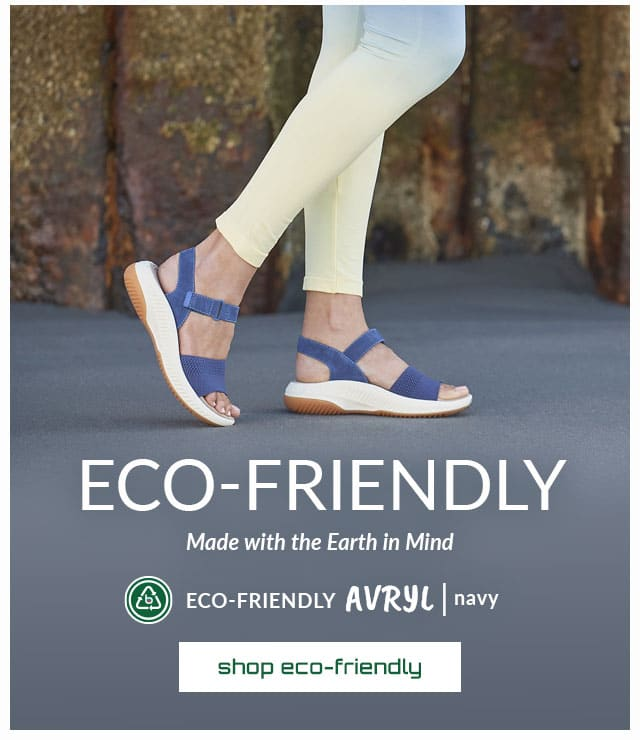 Eco-friendly. Made with the Earth in Mind. Featured style: Eco-Friendly Avryl sandal in navy. Shop Eco-Friendly.