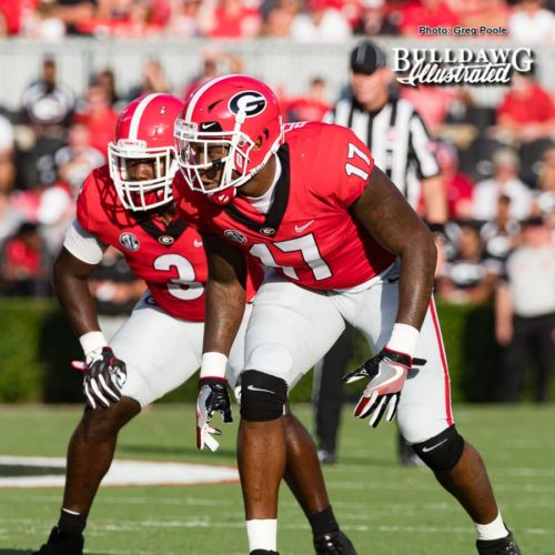 Roquan Smith (3) and Davin Bellamy (17) stand ready to defend the Bulldogs' home turf versus Appalachian State - Saturday, Sept. 2, 2017 -