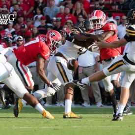 Freshman RB D'Andre Swift (7) applies pressure on the Mountaineer punter. - Appalachian State vs. UGA - Saturday, Sept. 2, 2017