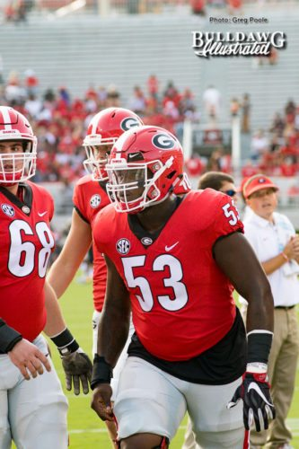 Georgia starting center, Lamont Gaillard (53) - Appalachian State vs. UGA - Saturday, Sept. 2, 2017