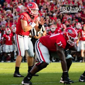 """Jake Fromm (11) awaits the snap from center Lamont Gaillard (not shown), freshman RT Andrew Thomas (71) ready to keep his QB """"upright and clean"""" - Appalachian State vs. UGA - Saturday, Sept. 2, 2017"""
