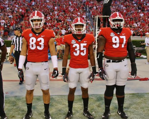 Captains Jeb Blazevich, Aaron Davis and John Atkins - Georgia 42 Samford 14 - Saturday, Sept. 16, 2017 (Photo by Rob Saye)