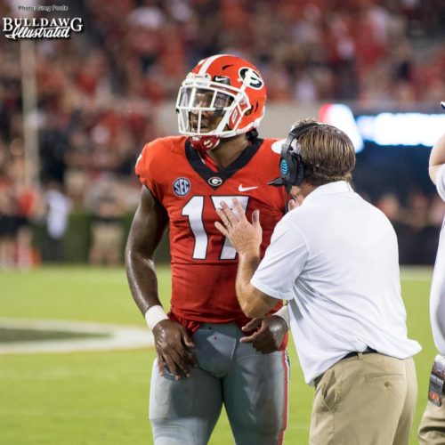 Davin Bellamy (17) gets some education from his head coach Kirby Smart - UGA vs. Mississippi State - Saturday, Sept. 23, 2017
