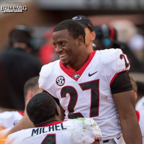 How does Nick Chubb (27) feel in his return trip to Neyland Stadium, two years after his knee injury? - 3rd quarter, UGA vs. Tennessee - Saturday, Sept. 30, 2017