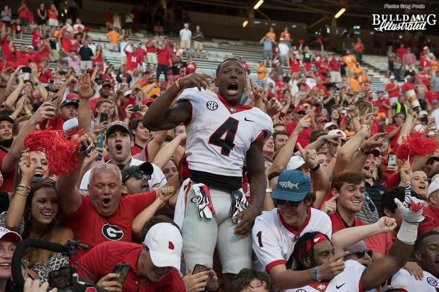 Mecole Hardman (4) leads fans in celebration after a glorious 41-0 win over rival Tennessee - Saturday, Sept. 30, 2017 -