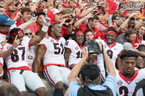 David Marshall (51), Ahkil Crumpton (16), Jeremiah Holloman (9) and teammates are all Dawg smiles after a 41-0 thrashing of Tennessee - Saturday, Sept. 30, 2017 -