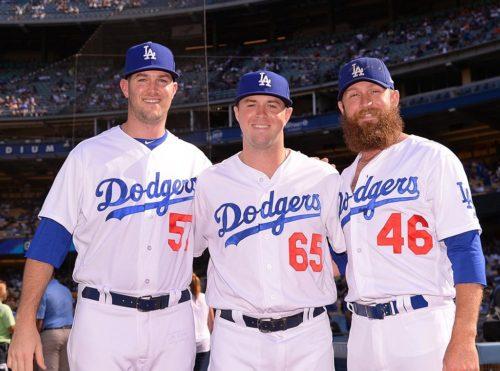 Alex Wood (57), Kyle Farmer (65), and Josh Fields (46), LA Dodgers   (Photo from Georgia Sports Communication)