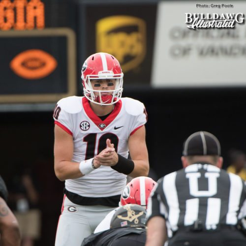 Jacob Eason had a rough go on his first possession off the bench, but then went 3-for-3 - 4th quarter - UGA vs. Vanderbilt - Saturday, October 7, 2017