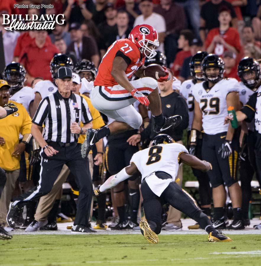 Nick Chubb hurdles a would be Missouri tackler - Georgia vs. Missouri