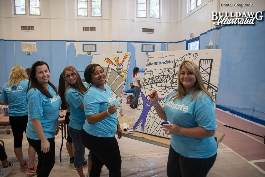 """Volunteers help give The Bridge Boys & Girls Club """"Cafétorium"""" a complete makeover for children in the Jacksonville, FL community during the All Hands In Makeover with Kevin Carter and Alec Ogletree. - Friday, Oct. 27, 2017 -"""