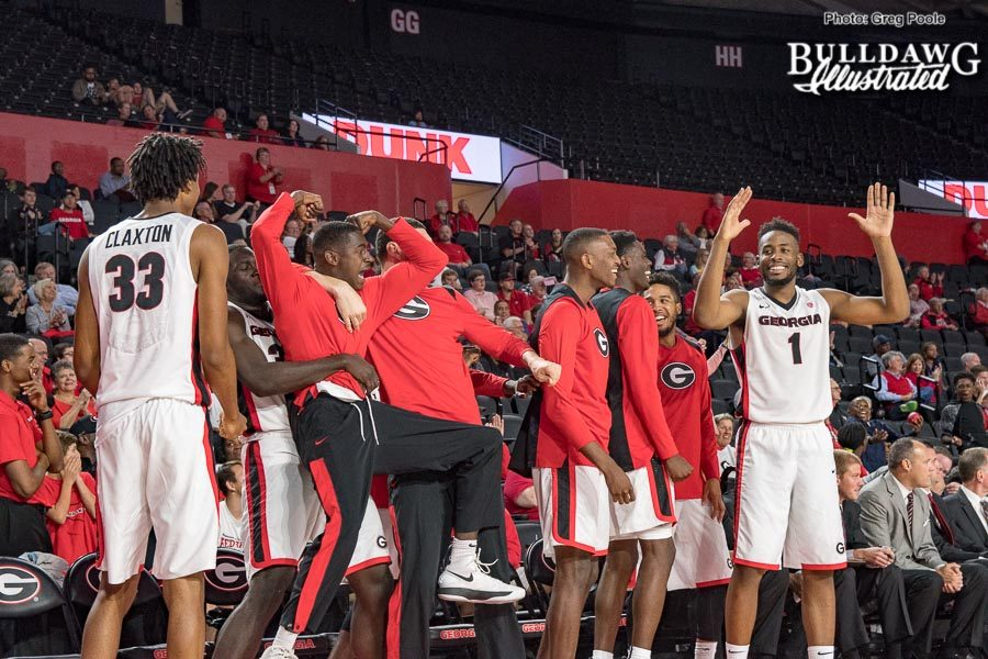 The Georgia men's basketball team is lose and having fun during their exhibition with Valdosta State on Thursday night in the UGA's newly renovated Stegeman Coliseum. - Thursday, Nov. 2, 2017 -