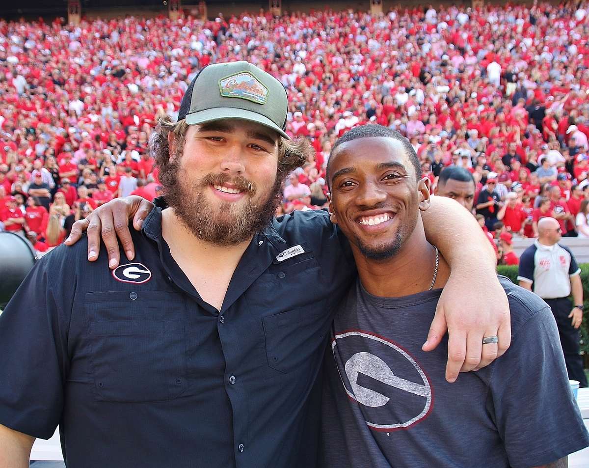 David Andrews and Malcolm Mitchell - Dawgs 24 - Gamecocks 10 - (Photo by Rob Saye)