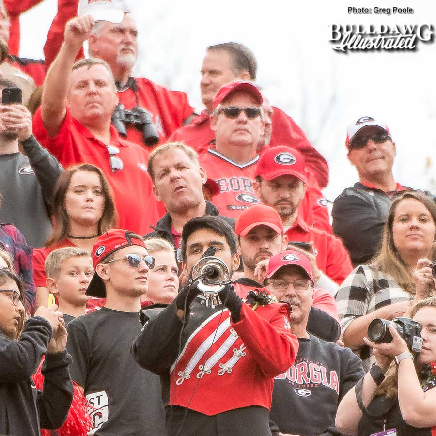 """UGA's """"Lone Trumpeter"""" plays for the last time at Sanford Stadium for the 2017 college football season. - Georgia vs. Kentucky - Saturday, Nov. 18, 2017"""