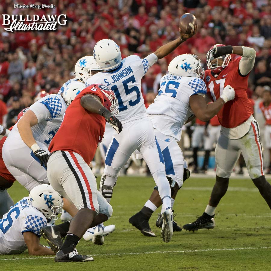 Bulldog D-lineman Julian Rochester (5) applies pressure to Wildcat QB - Georgia vs. Kentucky, Saturday, November 18, 2017