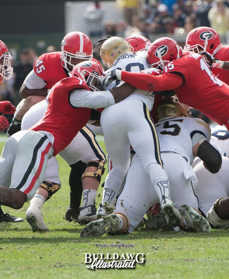 The Yellow Jackets found it tough running on the Bulldogs defense on Saturday. Georgia held Tech to just 188 yards on the ground when the Jackets had been averaging over 319. - UGA vs. GT - Saturday, Nov. 25, 2017 -