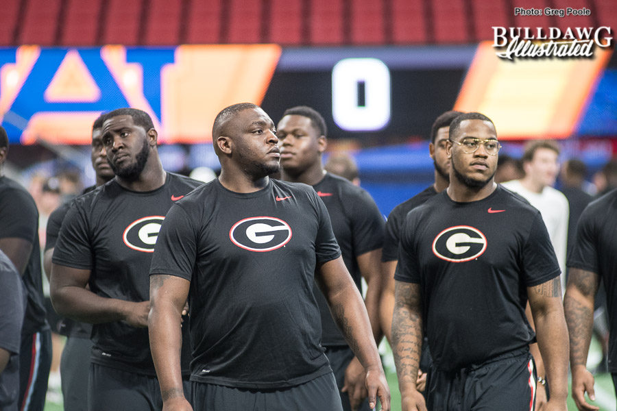 Georgia football team does a walk through the Mercedes-Benz Stadium on Friday afternoon as they prepare to face Auburn in the 2017 SEC Championshiip game on Saturday. - Dec. 1, 2017 -