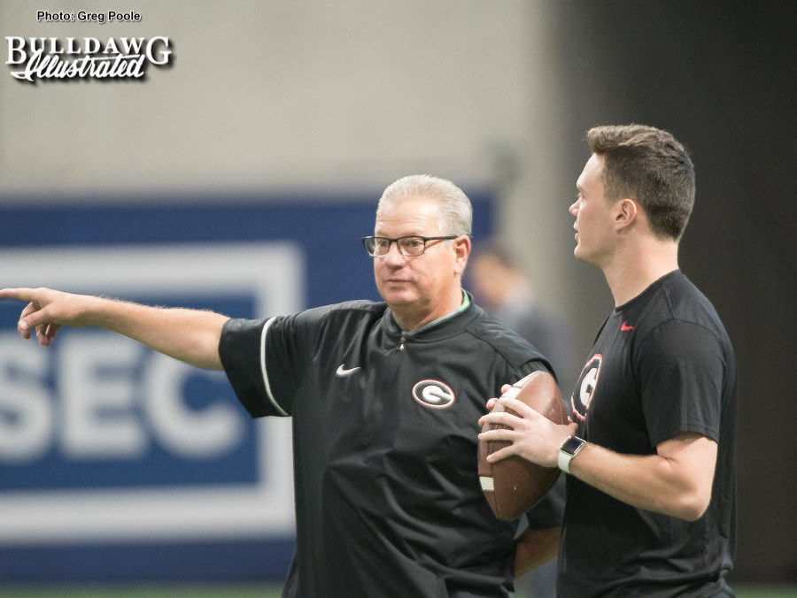 Georgia GA Kevin Butler with punter Cameron Nizialek during the Mercedes-Benz Stadium walk through on Fri., Dec. 1, 2017