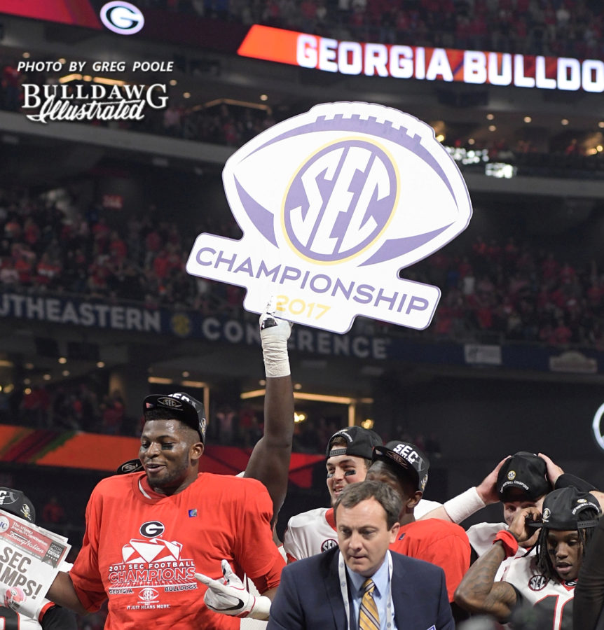 The 2017 SEC Champion Georgia Bulldogs do what champions do and celebrate.