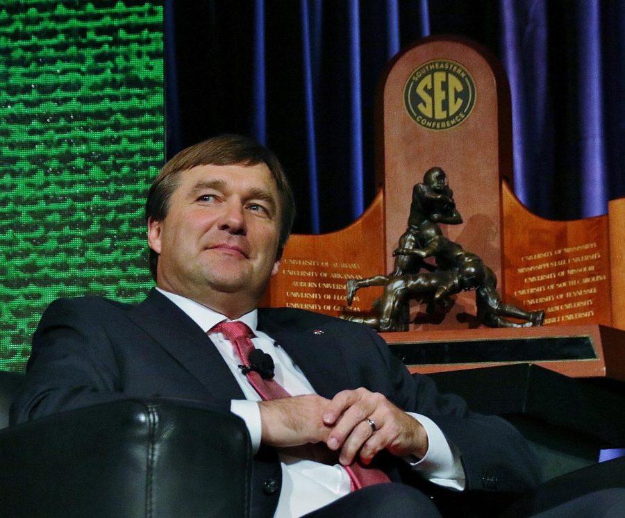 Georgia head coach Kirby Smart with the SEC Championship trophy - 2017 SEC Championship - Dawgs 28 Auburn 7 - 12-2-17 - (Photo by Rob Saye)