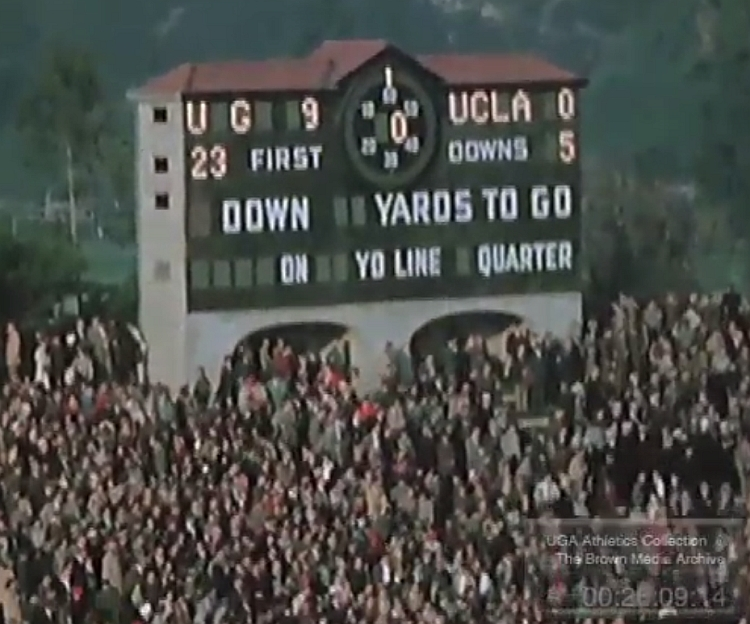 1943 Rose Bowl - No. 2 UGA defeats No. 13 UCLA 9-0  (photo from footage of the 1943 Rose Bowl from UGA Athletics Collection: The Brown Media Archive)