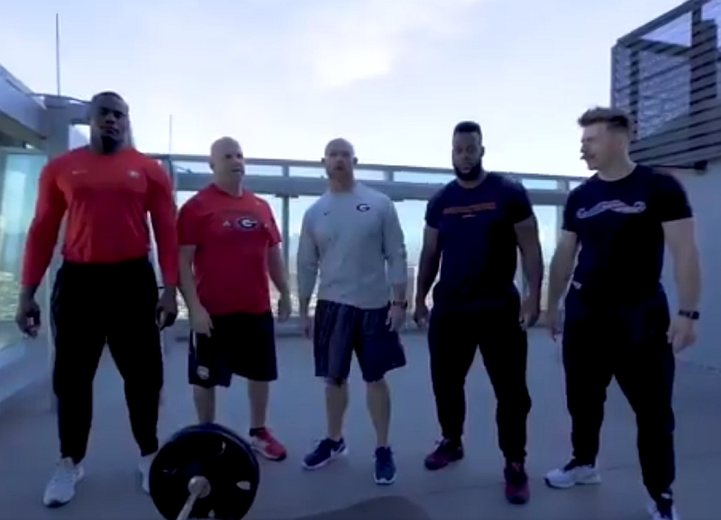 """UGA strength and conditioning staff's """"Throw Down Thursday"""" live from Pasadena, CA (photo from Scott Sinclair - Twitter)"""
