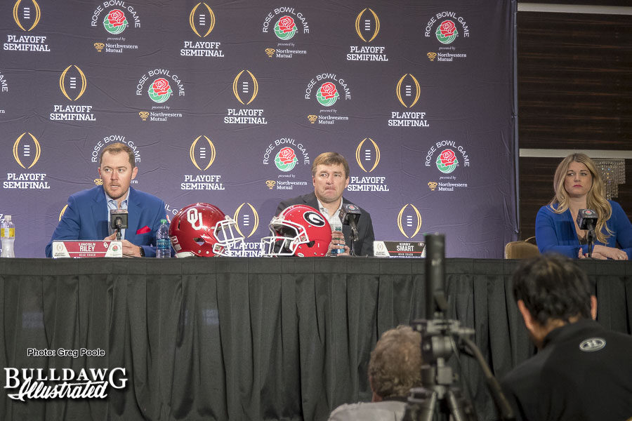 Rose Bowl joint head coaches press conference with Oklahoma Head Coach Lincoln Riley and Georgia Head Coach Kirby Smart   - Sunday, Dec. 31, 2017 -