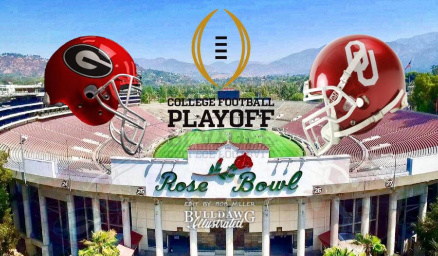 2018 Rose Bowl, Georgia vs. Oklahoma helmet edit by Bob Miller for staff score predictions