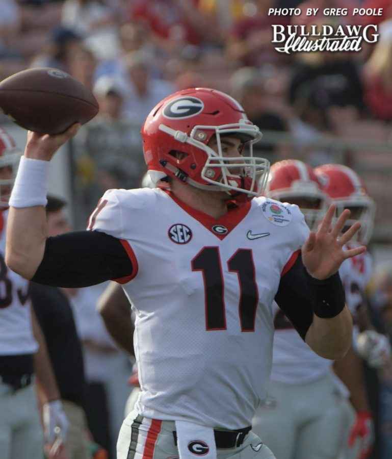Jake Fromm (11) - Rose Bowl pregame, Monday, Jan. 1, 2018 -