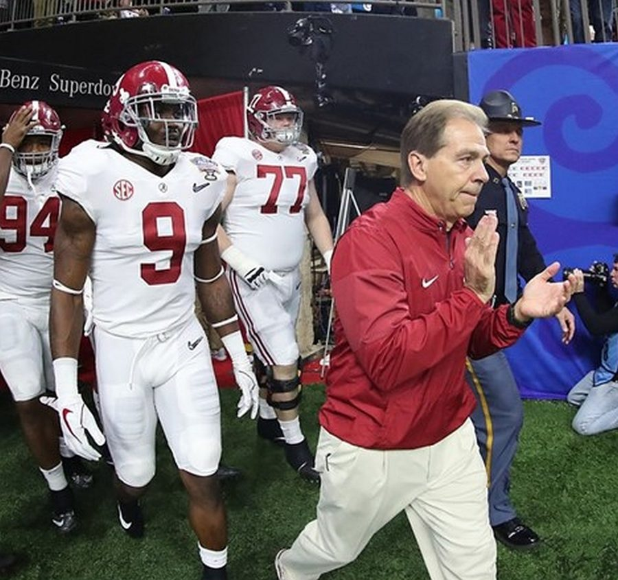 Alabama head coach Nick Saban leads the Crimson Tide out of the tunnel for the 2018 Sugar Bowl, Monday, Jan. 1, 2018. (Photo by Crimson Tide Photos / UA Athletics)